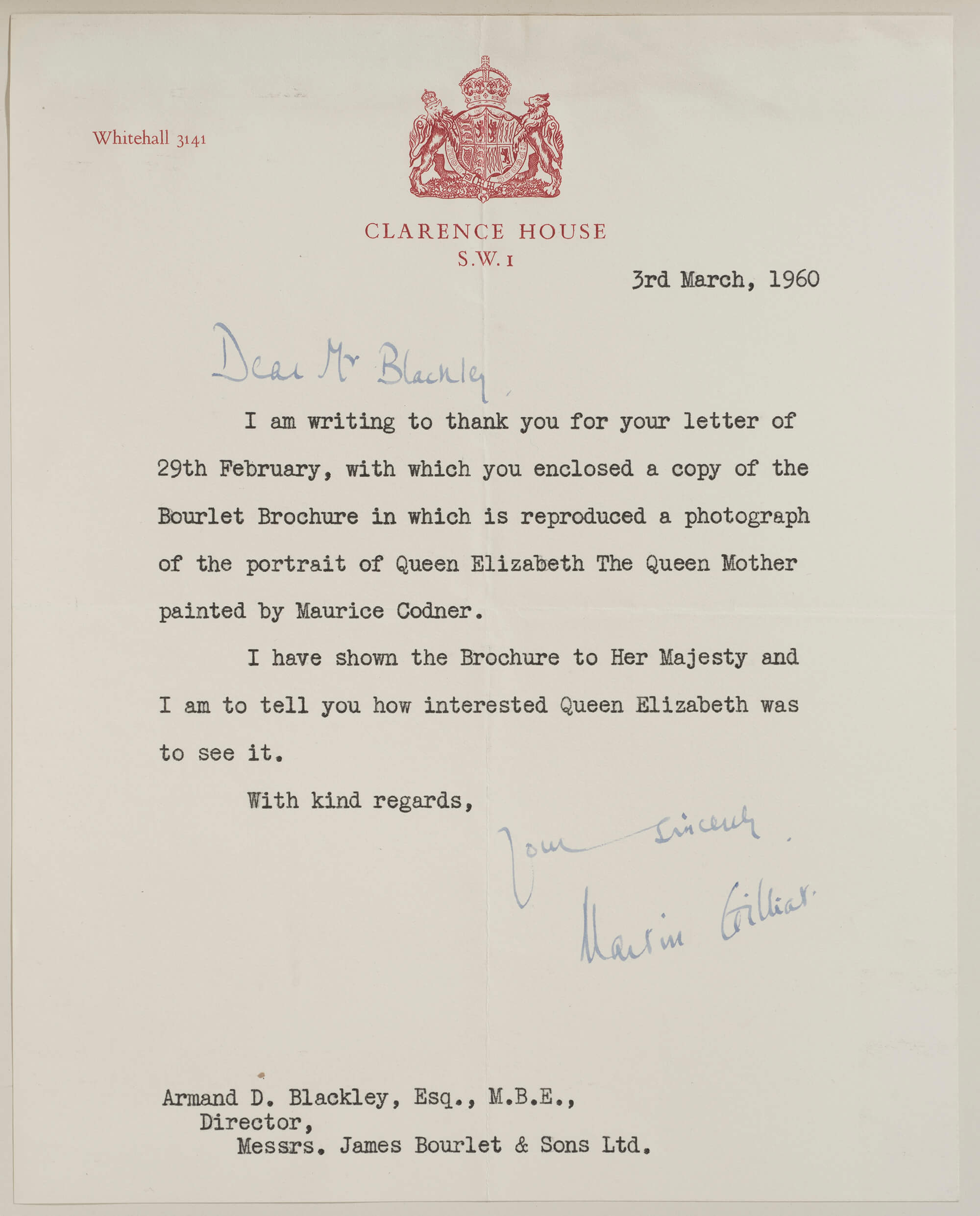 A letter of thanks from Clarence House